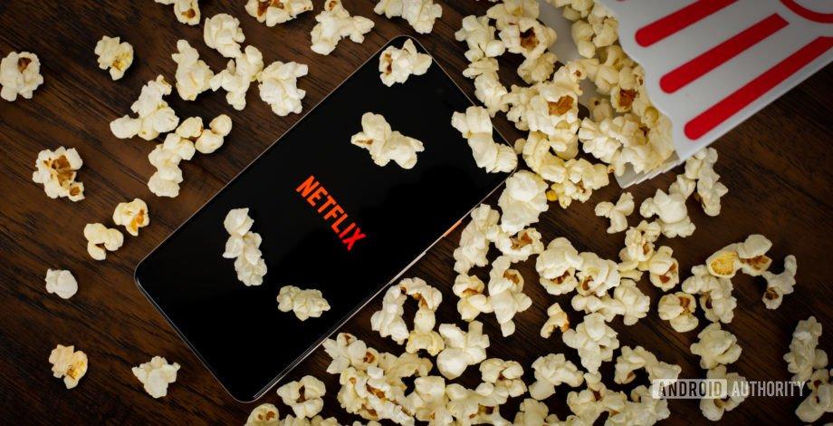 Netflix with popcorn stock photo 3